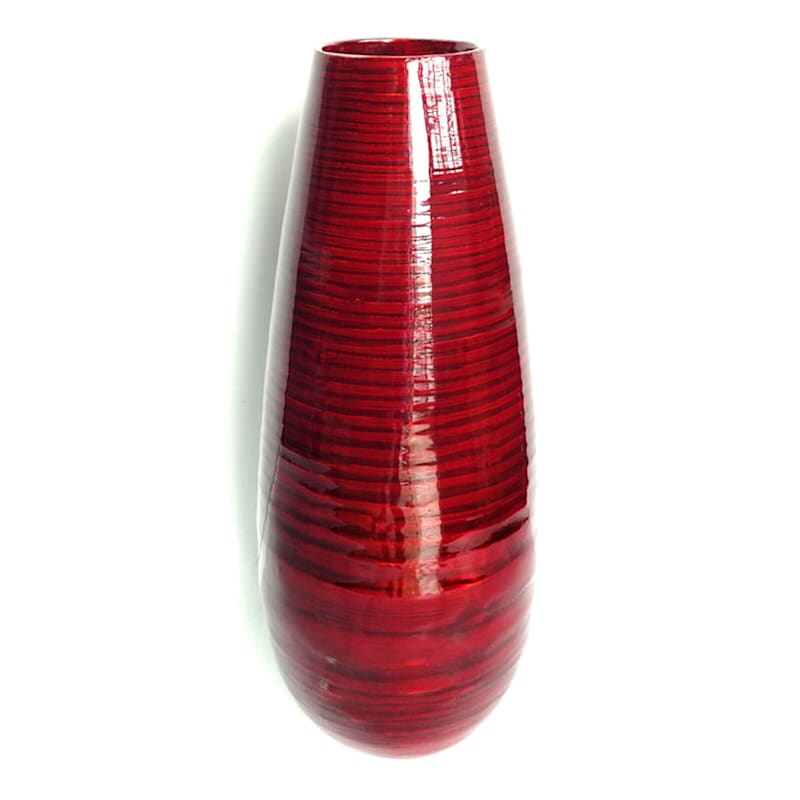 7X17 Red Bamboo Vase
