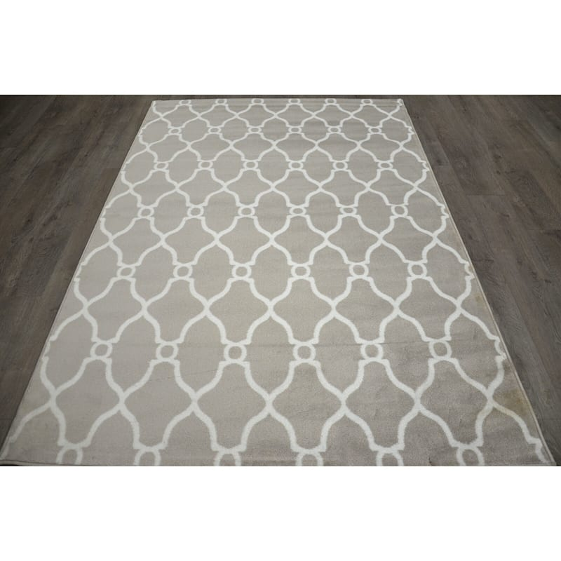 (D47) Grey & White Moroccan Style Design Runner, 2x7