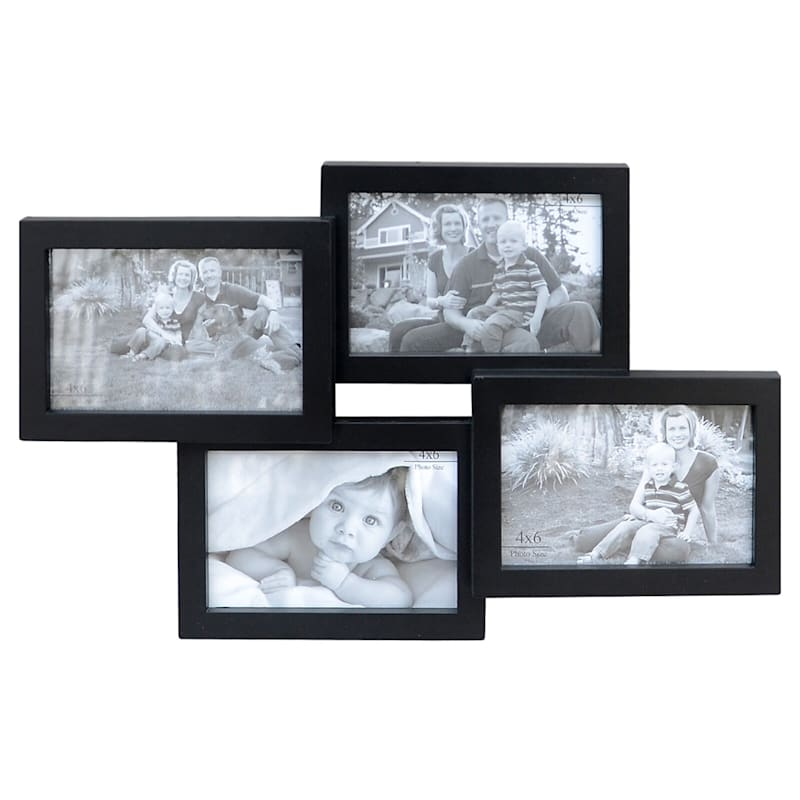 11X17 Black Wall Photo Collage With 4-Openings