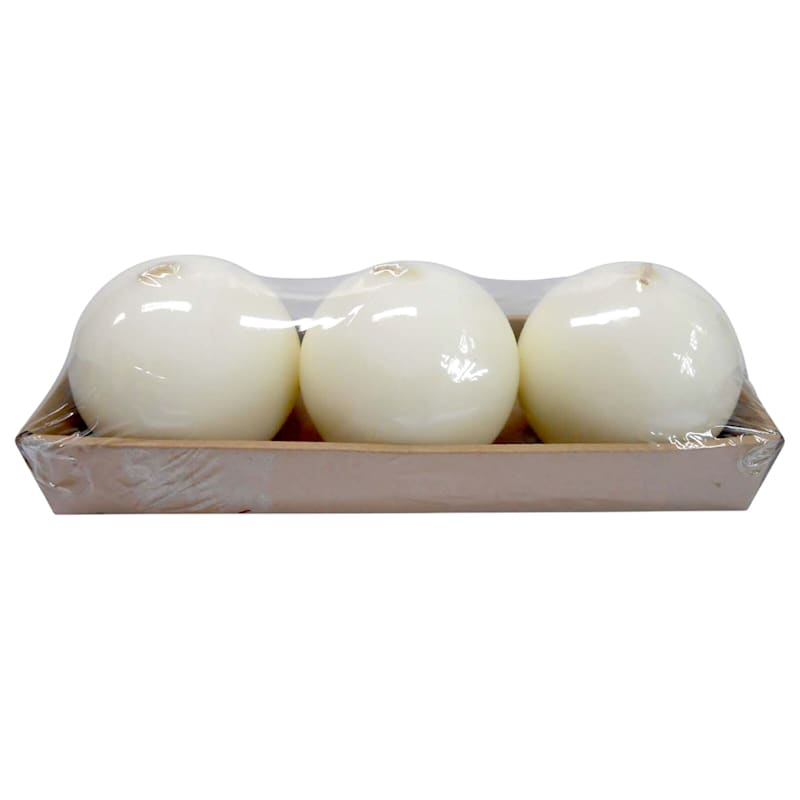 Set Of 3 2.8in. Overdip Sphere Candle Ivory