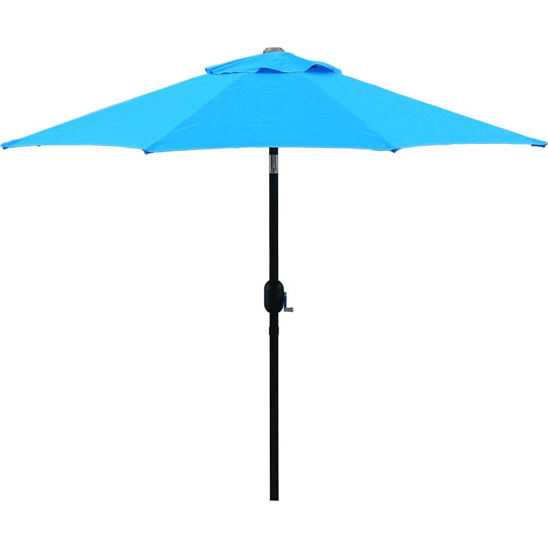 Steel Aqua Round Crank And Tilt Outdoor Umbrella, 7.5'