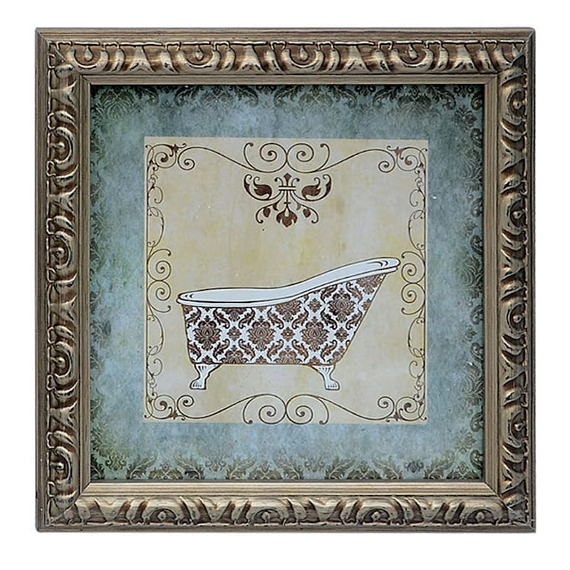 6X6 Bathroom Framed Art Under Glass 4-Piece Set