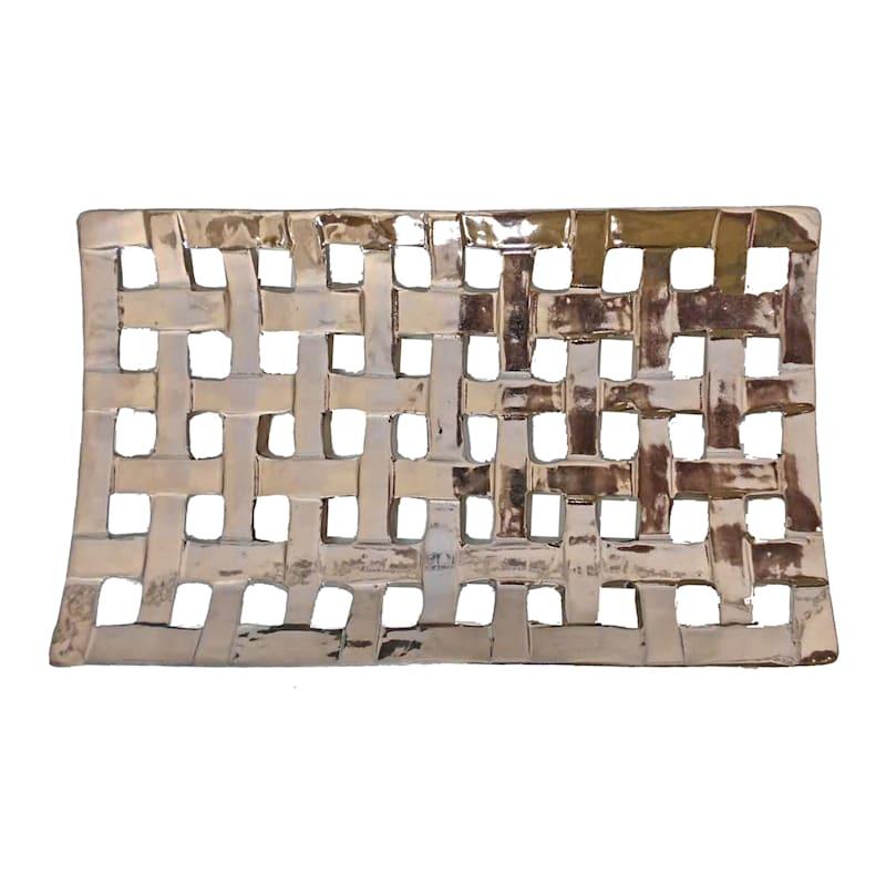 15X8 Ceramic Silver Tray