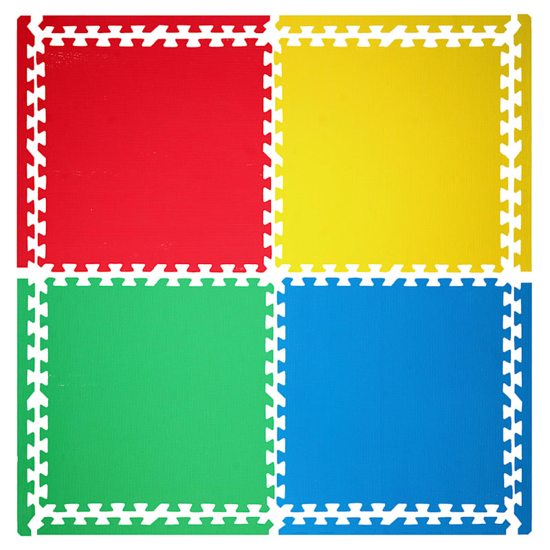 Multi Colored Rubber Tiles 4-Pack