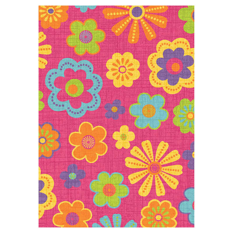(D110) Gloucester Mad Meadow Pink Printed Area Rug With Non-Slip Back, 5x7