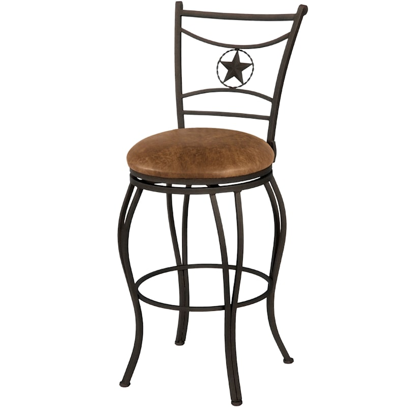 Western Style Brown Metal Swivel Barstool & Faux Leather Upholstered Seat