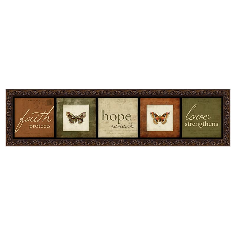 8 X 33-in Faith Hope Love Framed Plaque