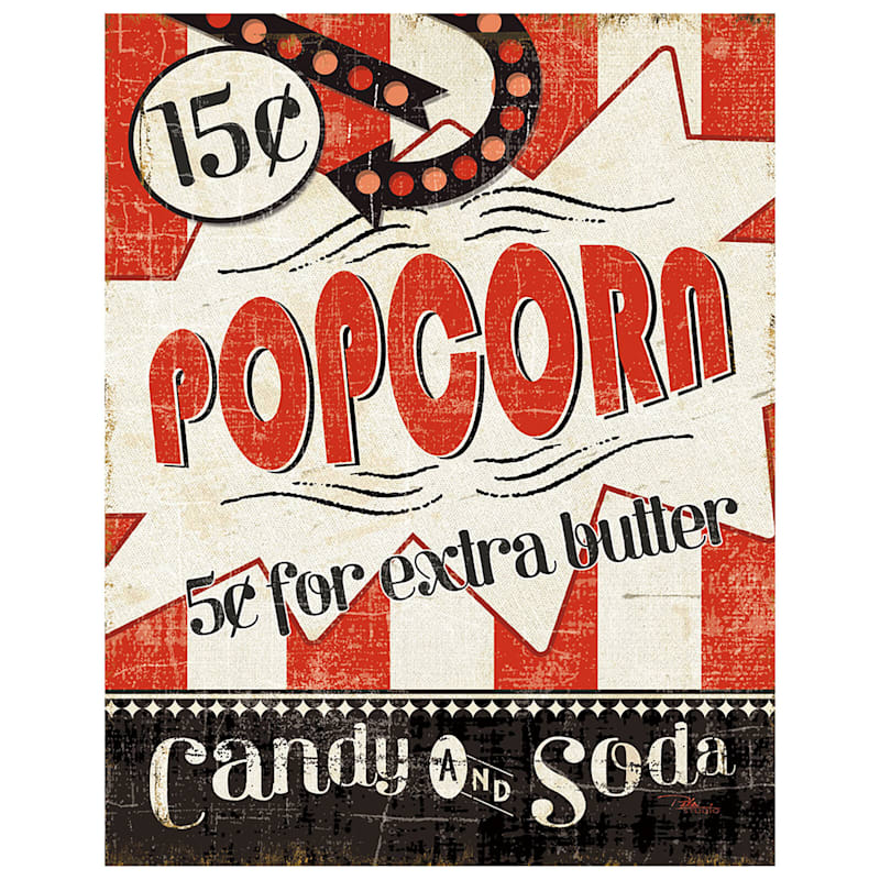 24X36 Movie Night Popcorn Canvas Art