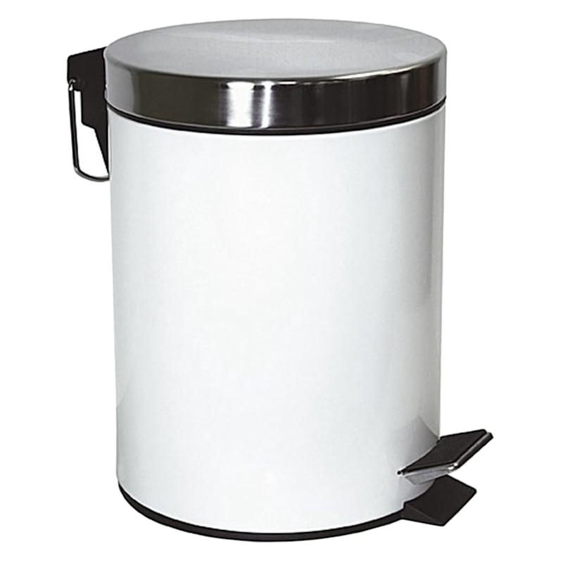 5L Metal Trash Bin White