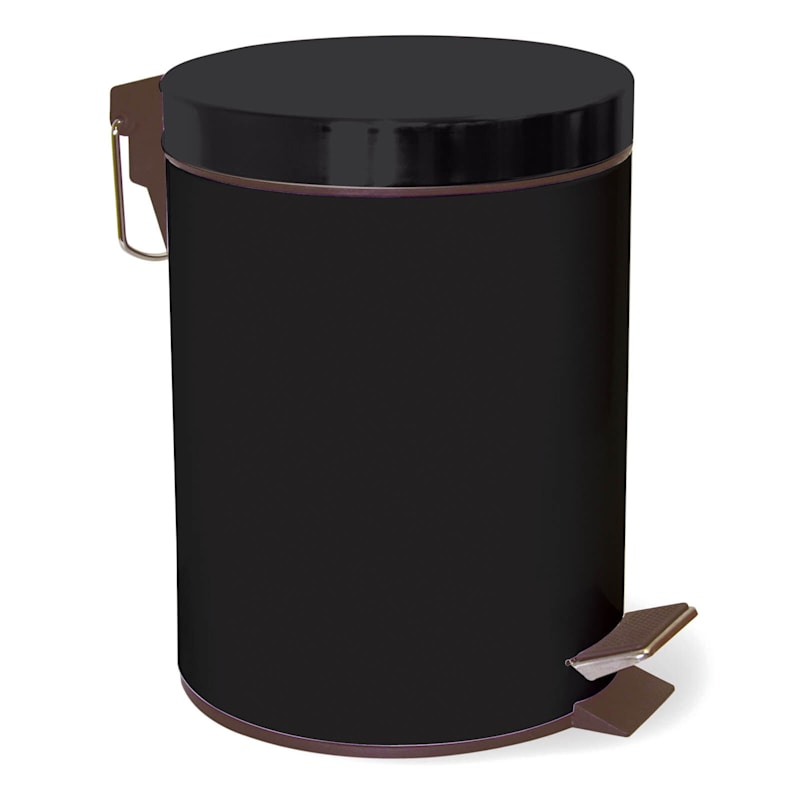 5L Step Metal Trash Bin Black