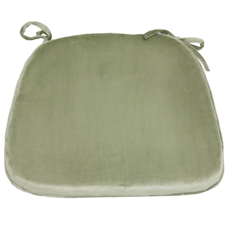 Plush Memory Foam Chair Pad/Ties Green Tea