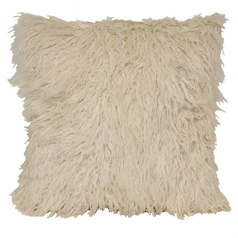Mongolian White Faux Fur Oversized Pillow 22X22
