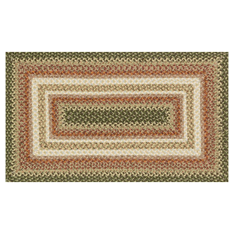 D69 Green and Orange Braided Rug- 28x48 in.