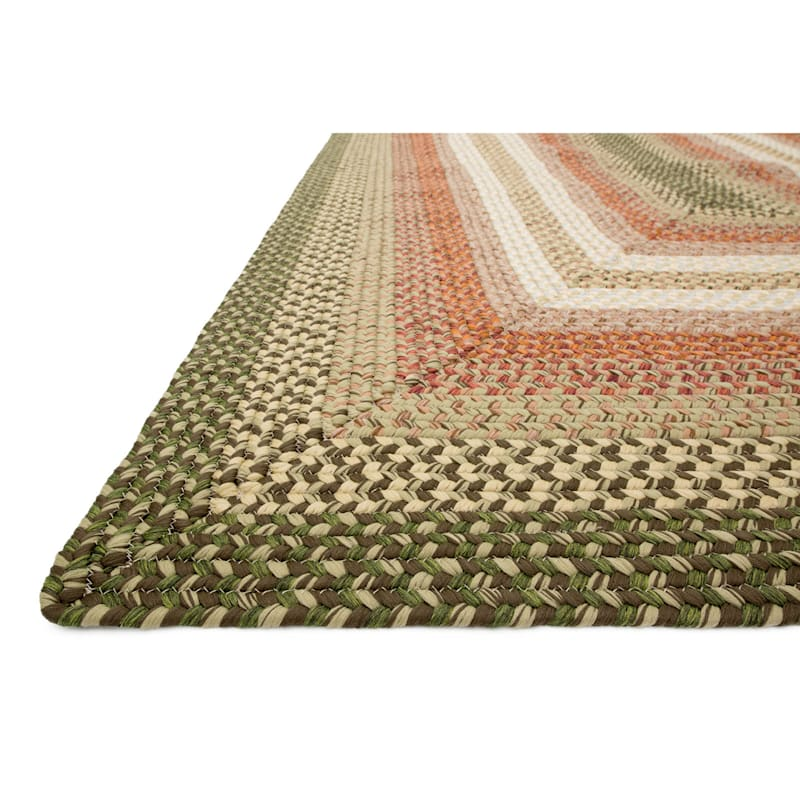 D69 Green and Orange Braided Rug- 5x7 ft