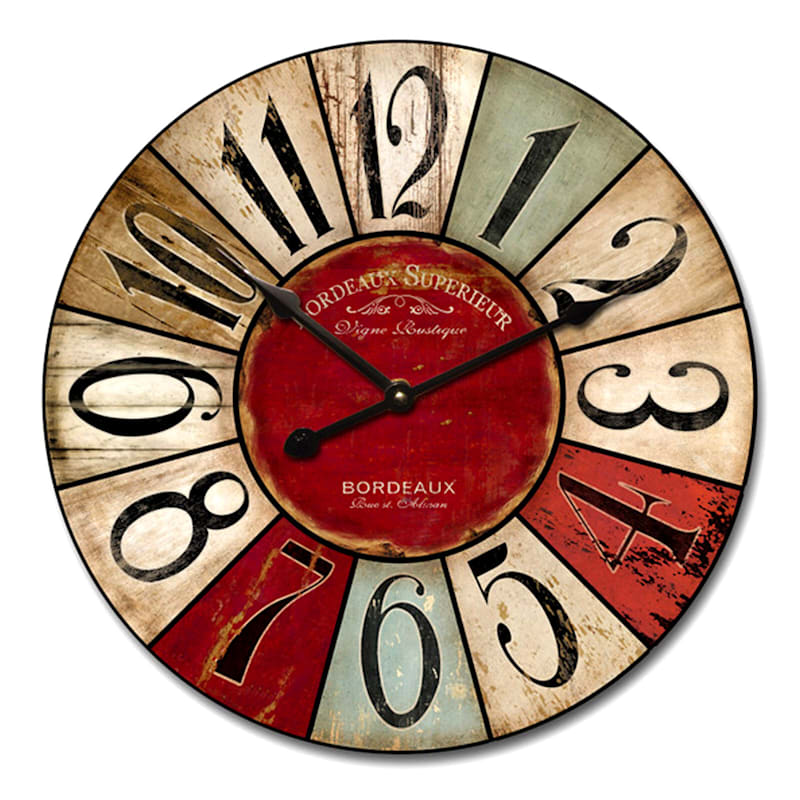 24X24 Wood Round Distressed Color Patch Wall Clock
