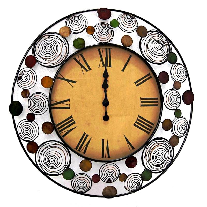 30X30 Metal Glass Round Springs Dot Wall Clock