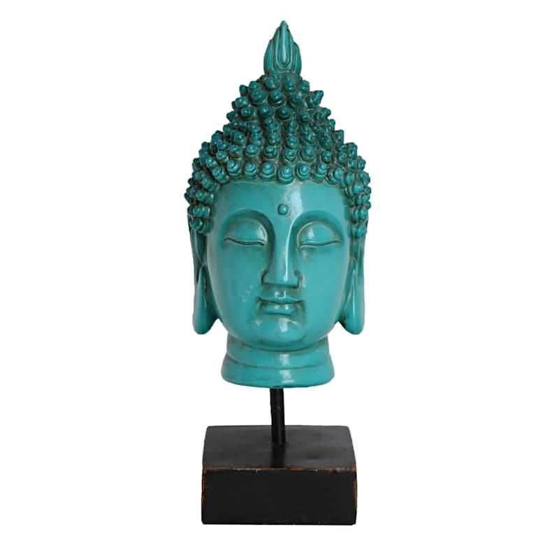 11in. Teal Resin Buddha Head