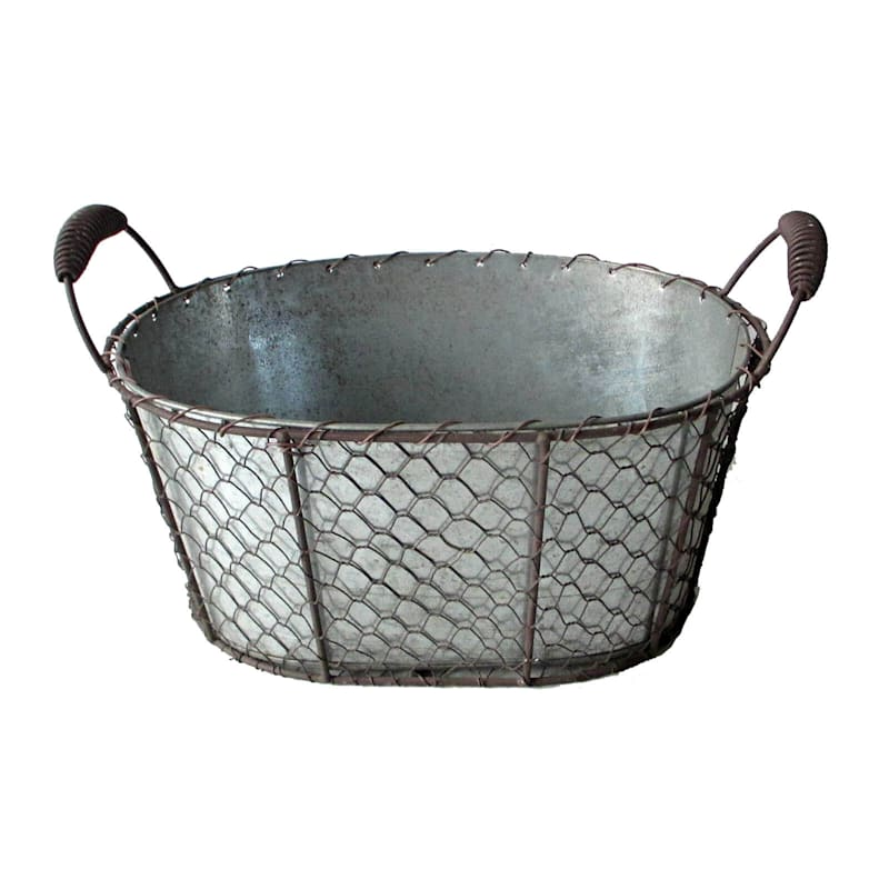 Chick Wire/Galvanized Oval Handle Basket