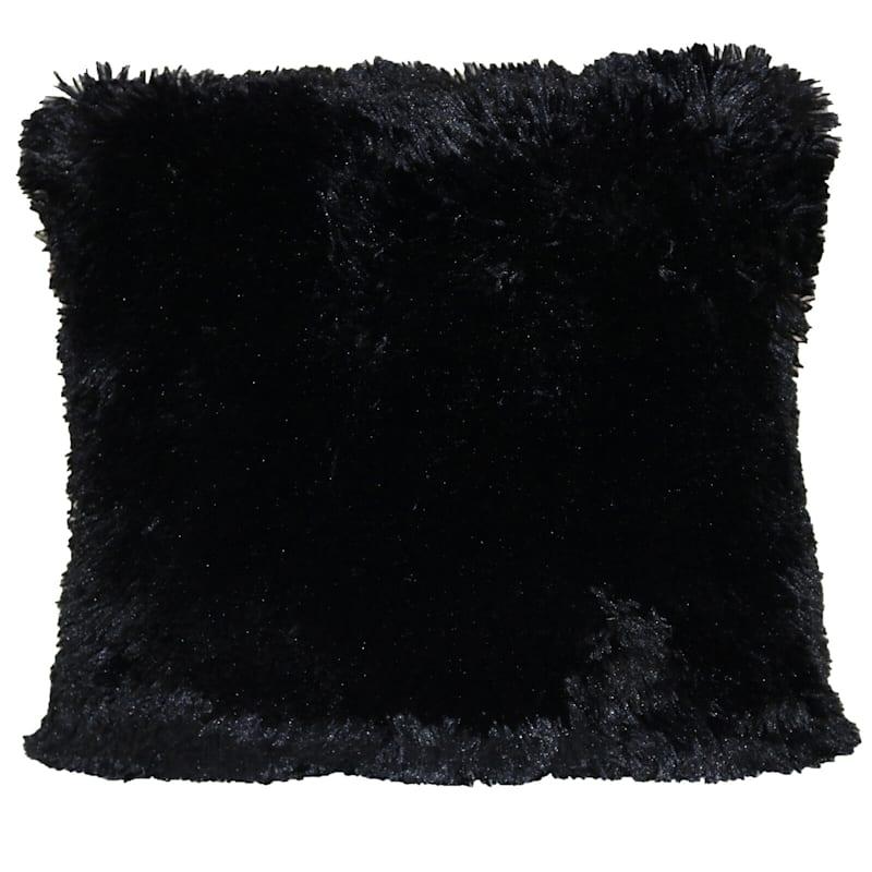 Shagalicious Faux Fur Pillow Black 18X18