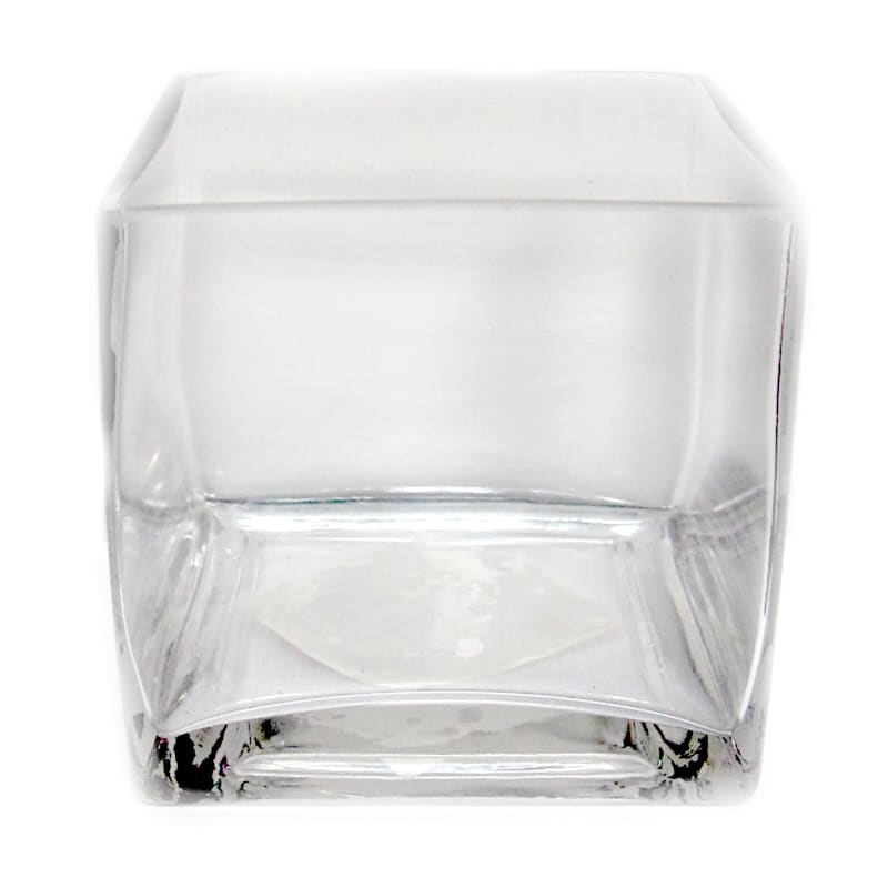 4X4 Clear Glass Cube Vase