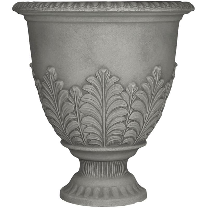 Acanthus Urn 17in. Decorative Planter Pebble Grey