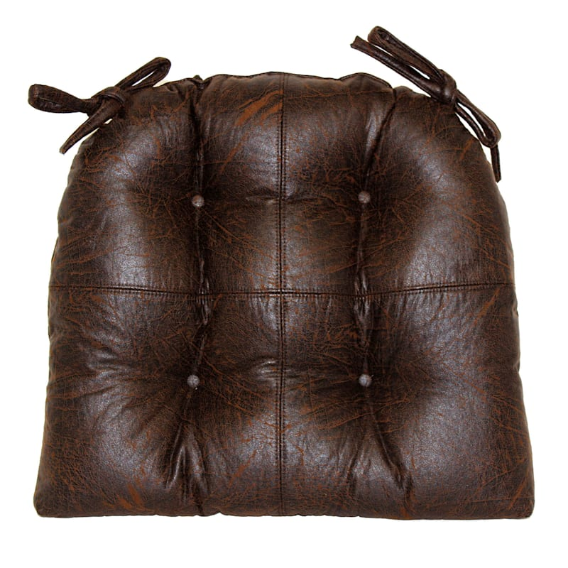 Nubuck Brown Faux Leather Quarter Panel Chair Pad/Ties