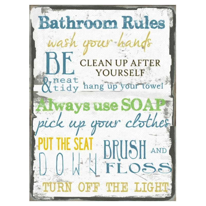 18X24 Rustic Bathroom Rules Sign Canvas