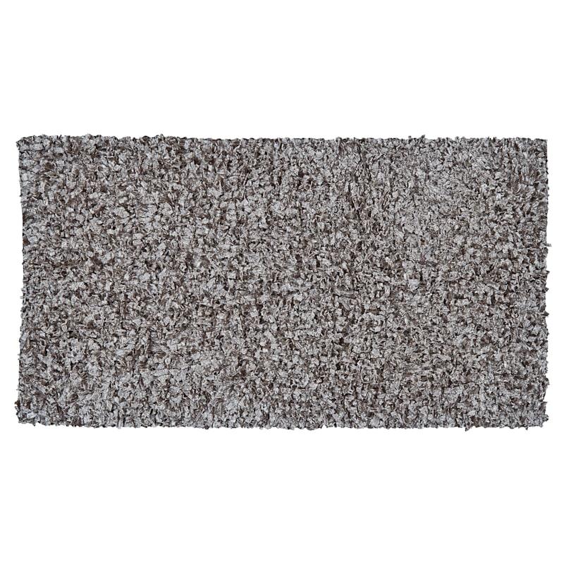 Cotton Poly Grey Shiny Shag Accent Rug, 2x4