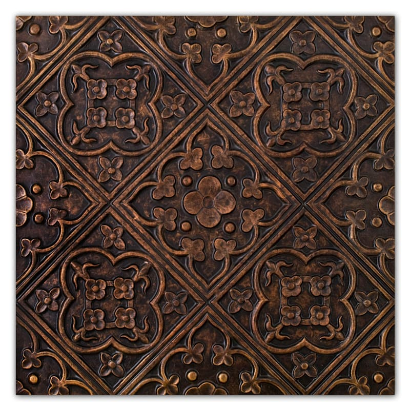 18X18 Bronze Medallion Tile Canvas Wall Art