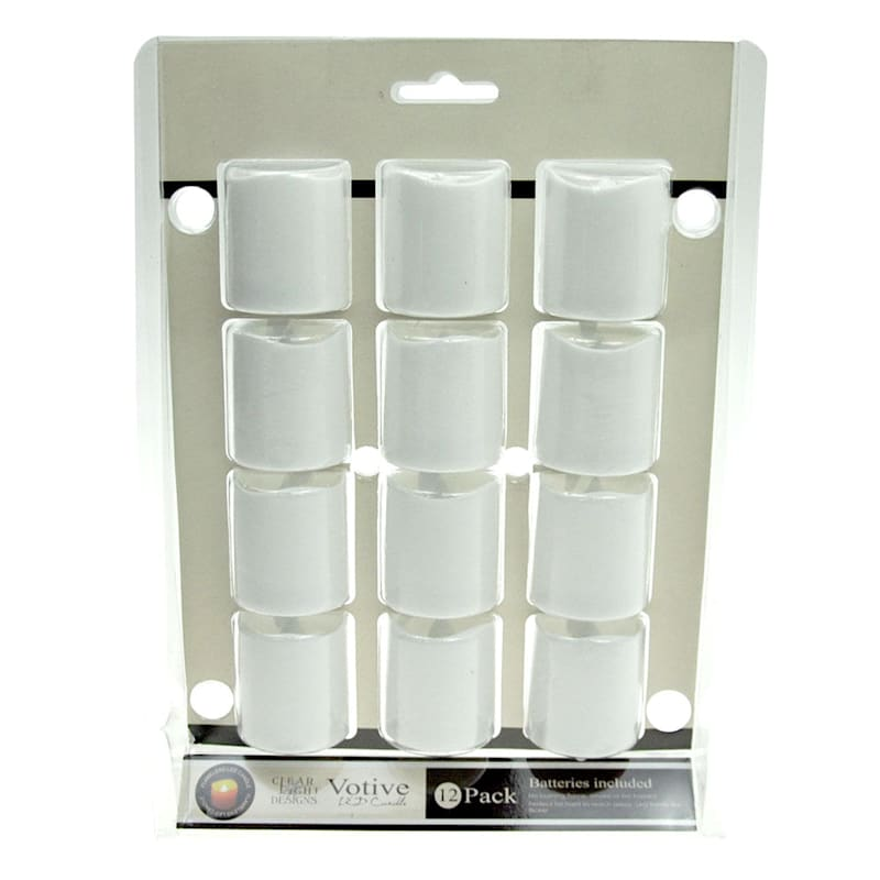 12-Pack Plastic Led Votive Candles White