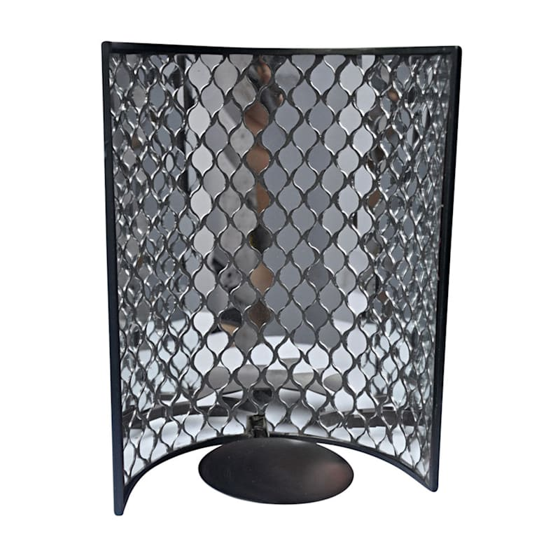 7.5X10 Concave Metal Wall Sconce With Mirrored Glass Tile