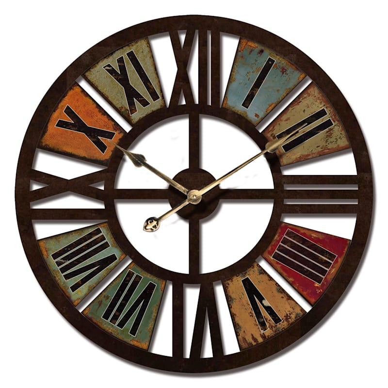 24X24 Wood Round Color Roman Wall Clock