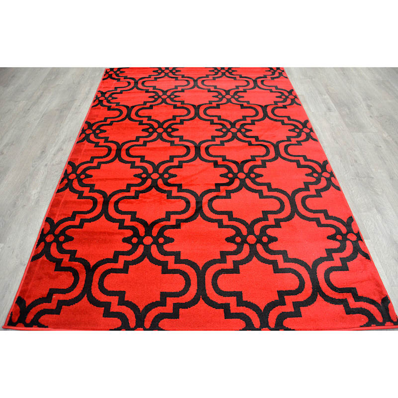Red and Black Trellis Rug 3 X 5 ft