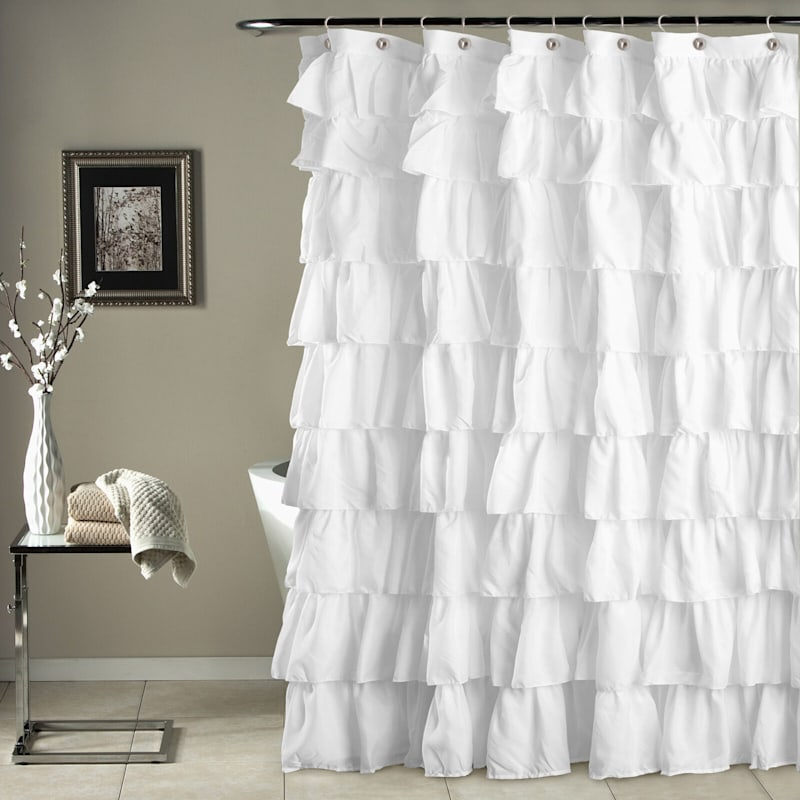White Ruffle Shower Curtain 72X72