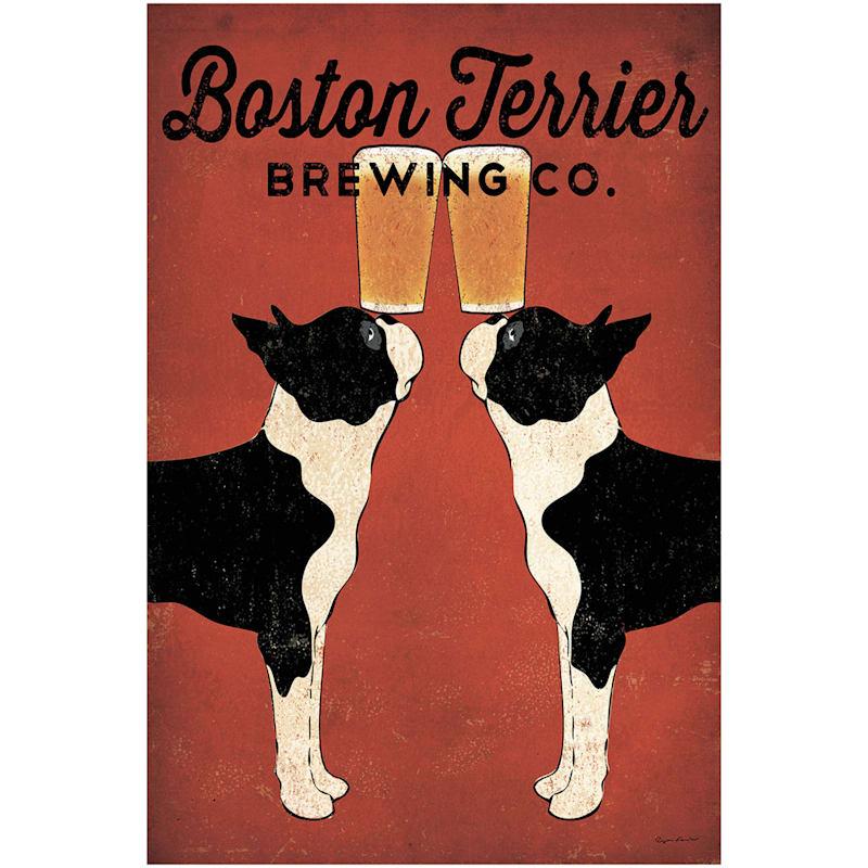 24X36 Boston Terrier Brewing Canvas Art
