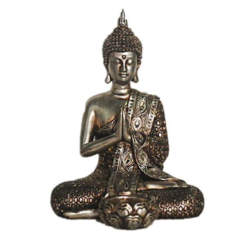Silver Praying Buddha - 7.9 in.