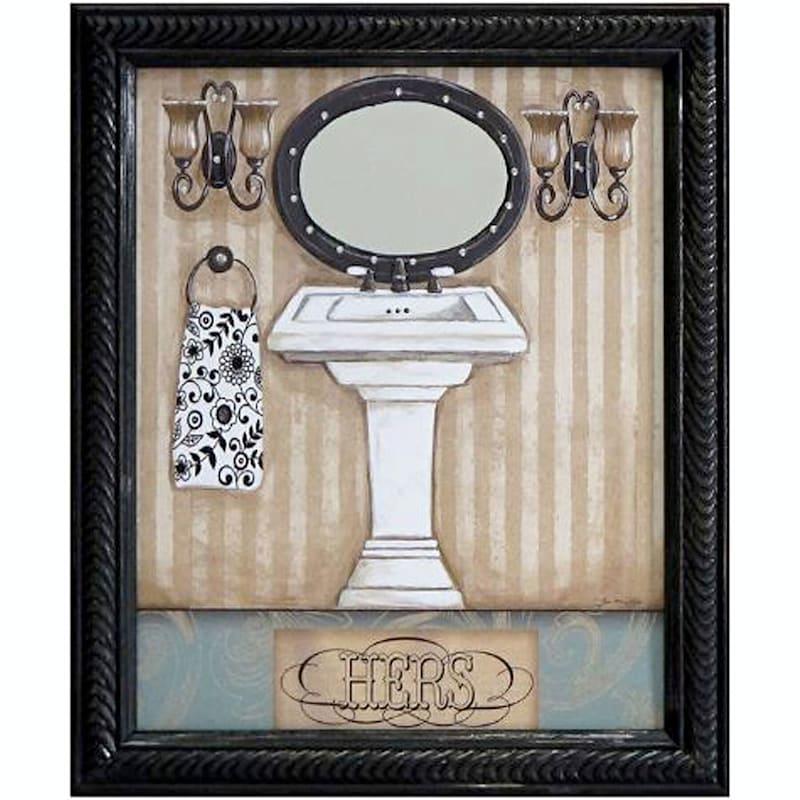 8X10 Hers Bath Framed Art With Rhinestones