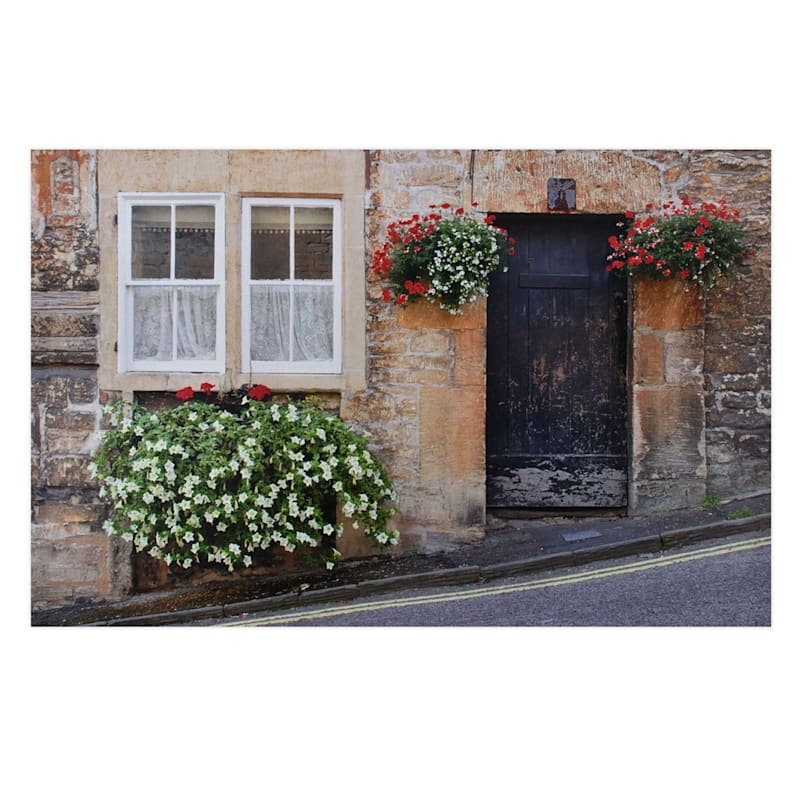 22X34 Doorway With Flowers Canvas Wall Art