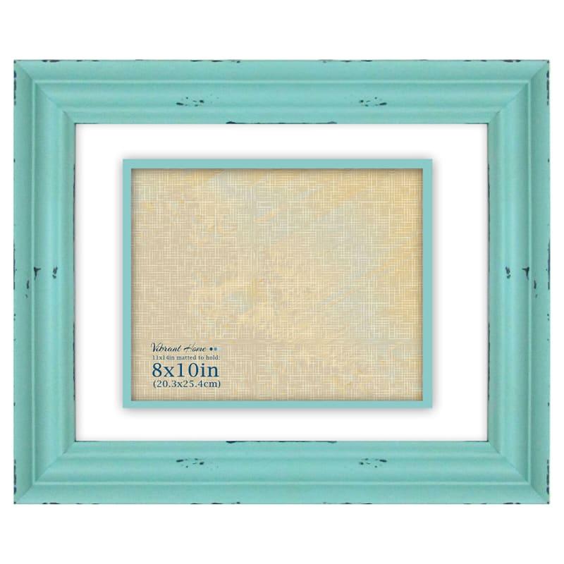 8 X 10-in Distressed Aqua Blue Frame