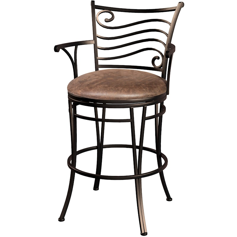 Sand Oversized Brown Swivel Barstool with Faux Leather Upholstered Seat
