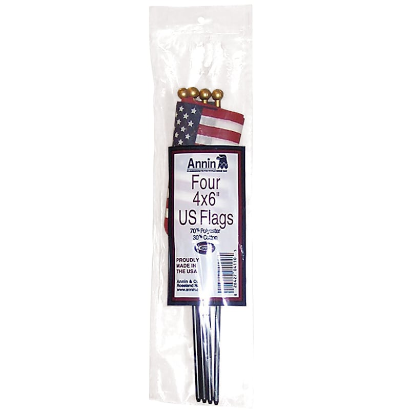 4-Pack 4X6 USA Hand Flags On Wood Stick/Gold Tip