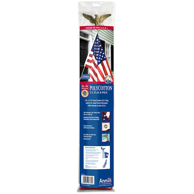 3X5ft. Polycotton USA Flag Set/6ft. Alum Pole/Mounting Bracket