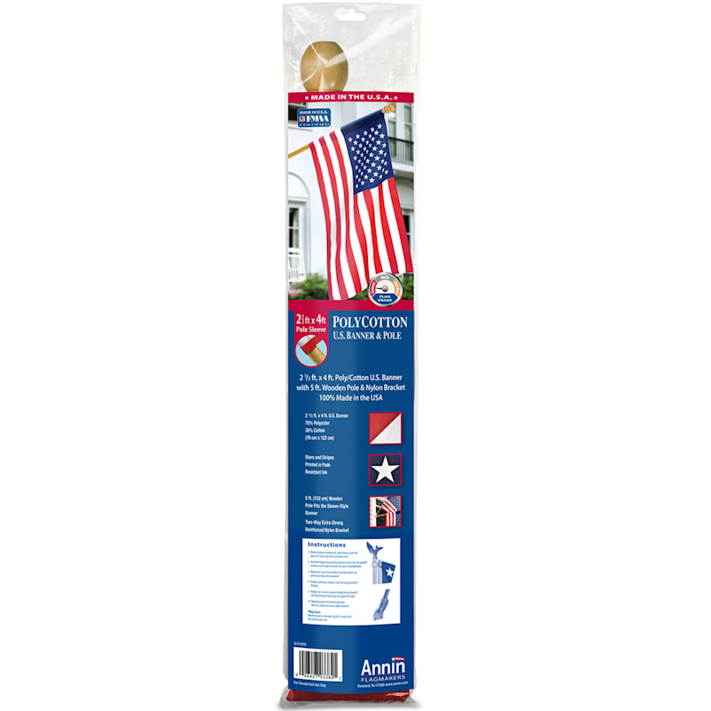 2.5X4ft. Polycotton USA Banner Flag Set/5ft. Wood Pole W/Mounting Bracket