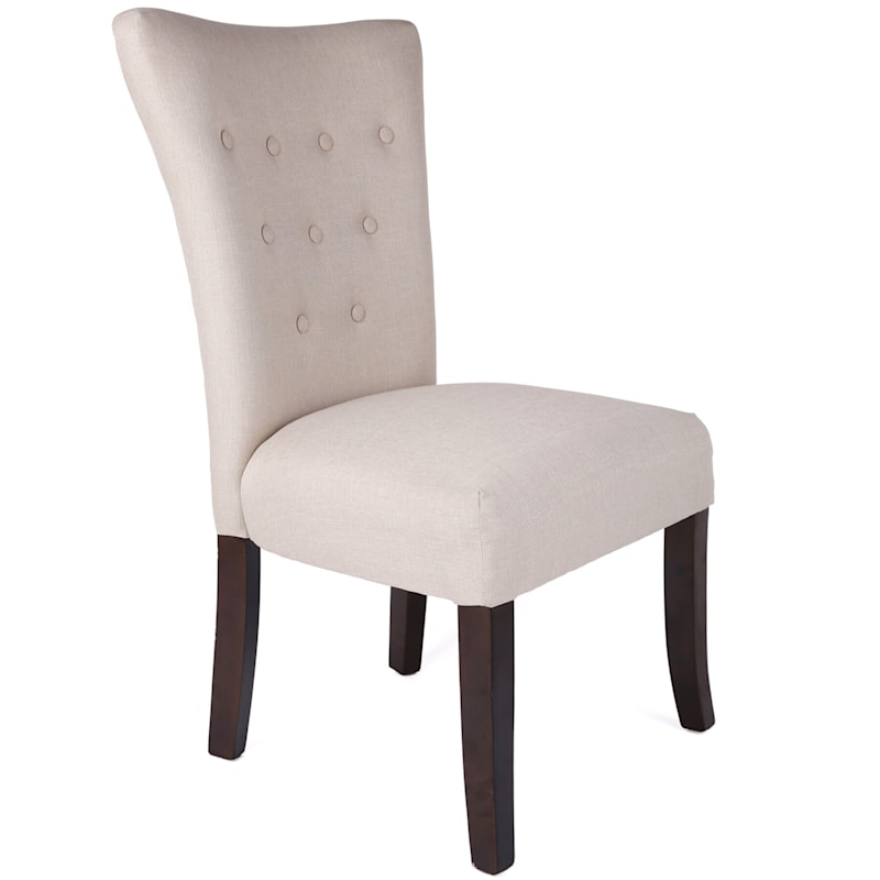 Upholstered Tan Button Tufted Parsons Chair