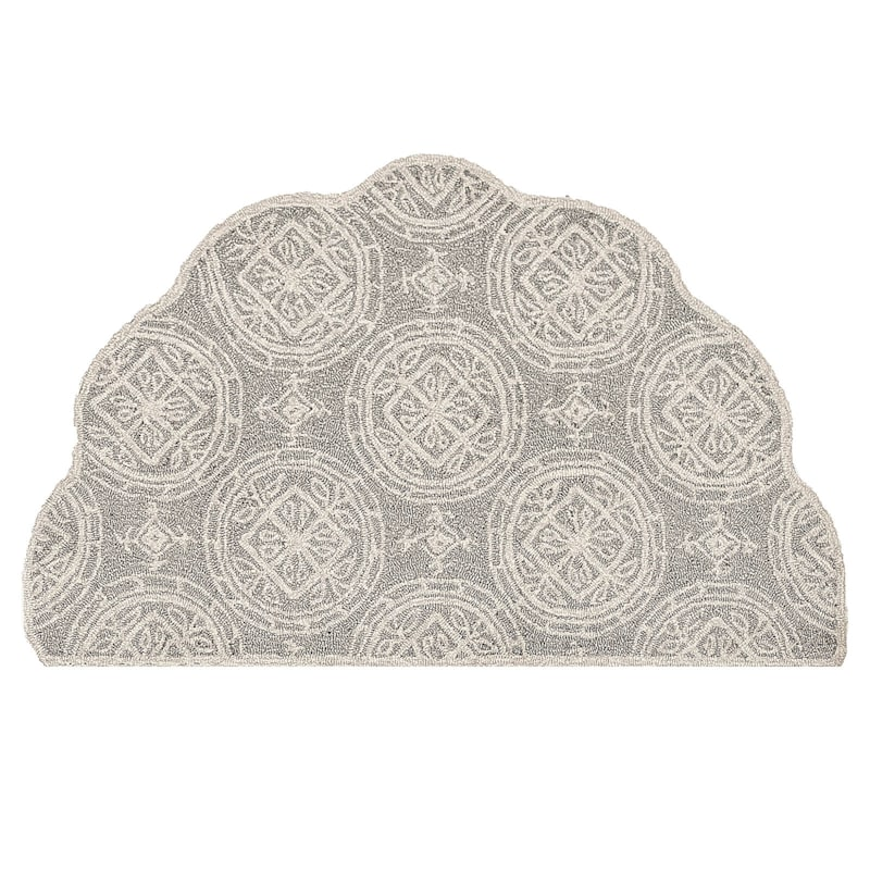 Summerton Scalloped And Hooked Dark Grey & Cream Hearth Rug, 2x4