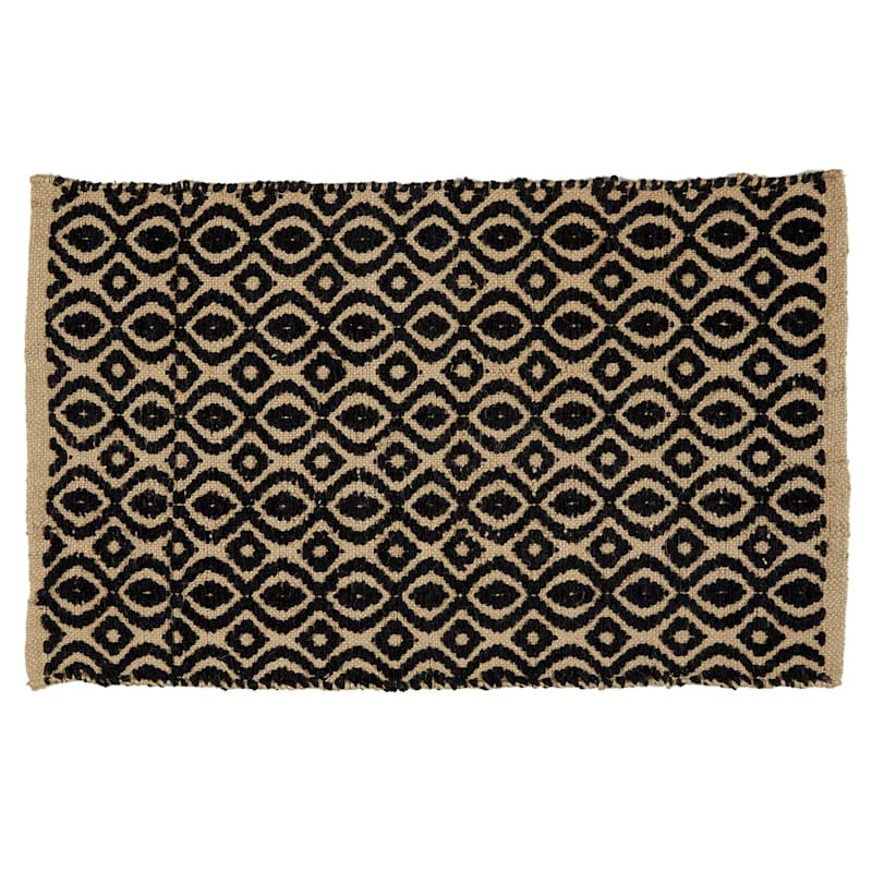 Black Jute and Rayon Geometric Accent Rug 20 X 34-in