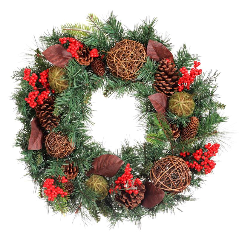 "Berries, Pinecones & Twig Ornaments Wreath, 24"""