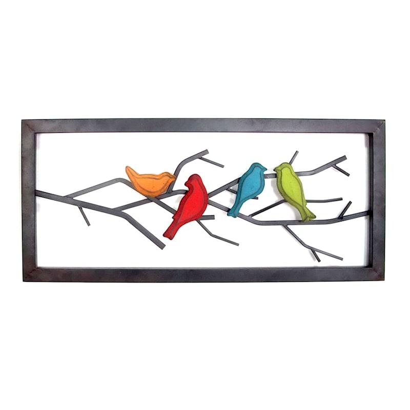 32X14 Birds On Branch Metal Frame Wall Art