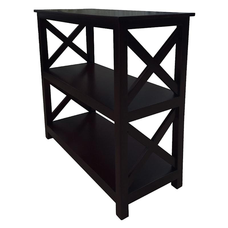 Black Three Tier X-Side Bookshelf