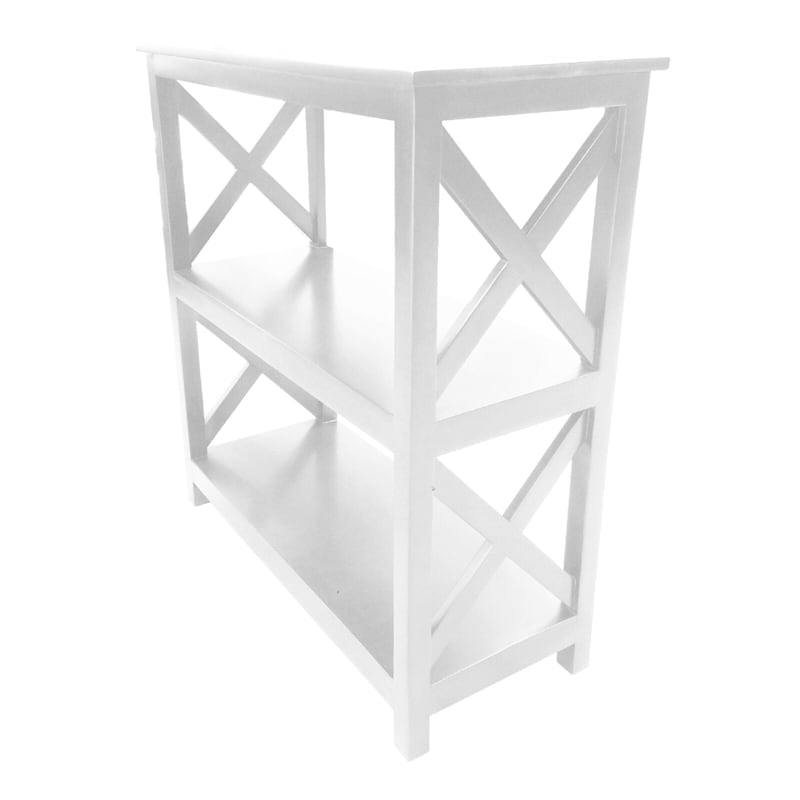 White Three Tier X-Side Bookshelf